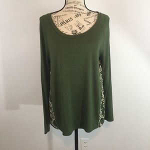 SMALL Coldwater Creek Long Sleeve Green Top